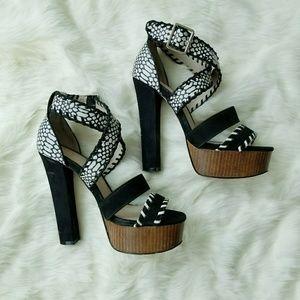 Aldo Black & White Platform Strappy Heels